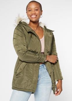olive nylon sherpa hood anorak jacket - Main Image