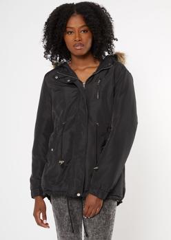 black sherpa lined detachable fur hood anorak jacket - Main Image