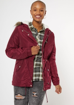 burgundy sherpa lined detachable fur hood anorak jacket - Main Image
