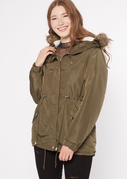 olive sherpa lined detachable fur hood anorak jacket - Main Image