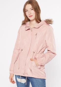 pink sherpa lined faux fur hood anorak jacket - Main Image