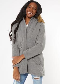 gray cinch waist fleece lined jacket - Main Image