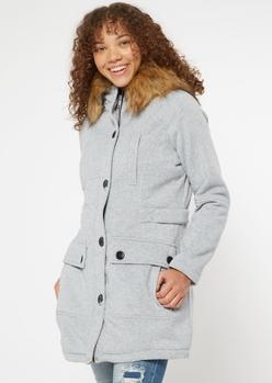 gray faux fur hooded fleece coat - Main Image