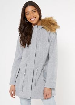 gray fleece cinch waist faux fur hood jacket - Main Image
