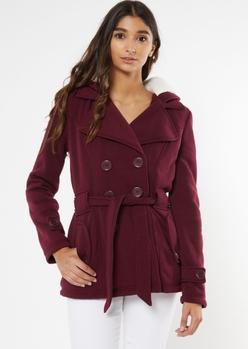 burgundy cozy sherpa hood short peacoat - Main Image