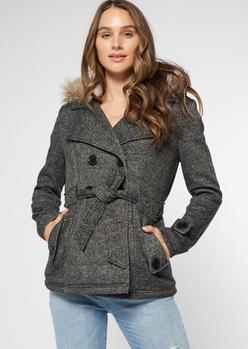 charcoal marled faux fur hood short peacoat - Main Image