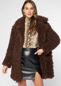 brown shaggy teddy coat - Main Image