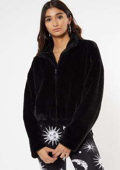 black faux fur zip up jacket - Main Image