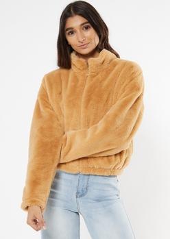 tan faux fur zip up jacket - Main Image
