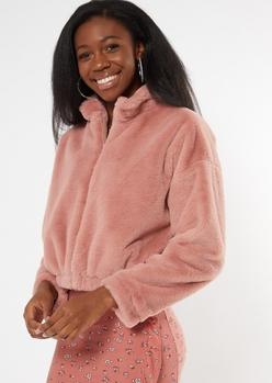 pink faux fur zip up jacket - Main Image