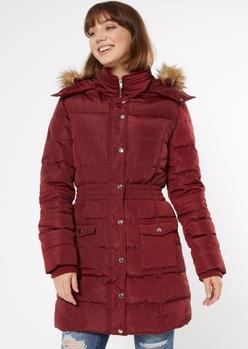 burgundy faux fur hooded long puffer coat - Main Image