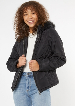 black quilted faux fur hood puffer jacket - Main Image