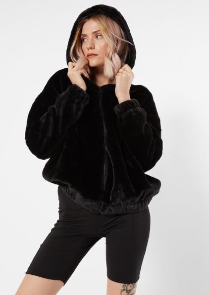 black faux fur oversized zip up hoodie - Main Image