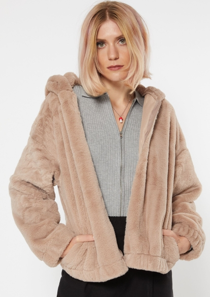 taupe faux fur oversized zip up hoodie - Main Image