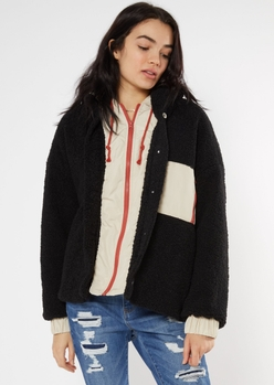 black quilt lined sherpa hooded jacket - Main Image