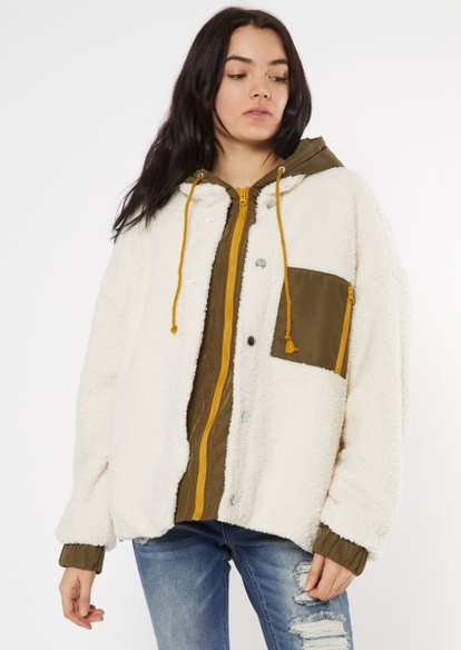 ivory quilt lined sherpa hooded jacket - Main Image