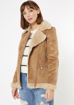 tan faux suede shearling moto jacket - Main Image
