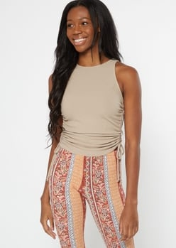 taupe ruched side high neck tank top - Main Image