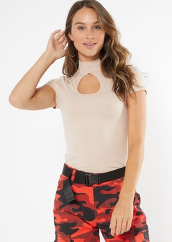 taupe mock neck keyhole fitted tee - Main Image