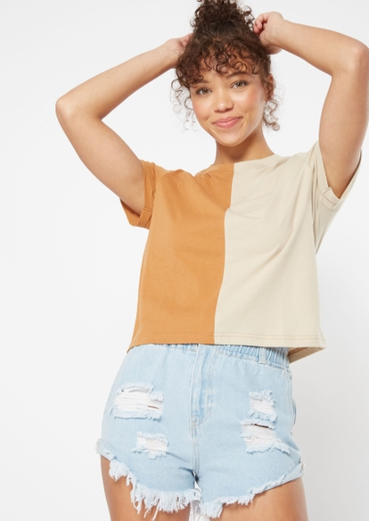 taupe beige two tone rolled sleeve boxy tee - Main Image