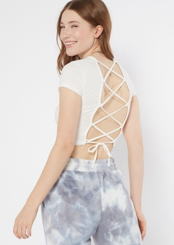 white lace up back short sleeve top - Main Image