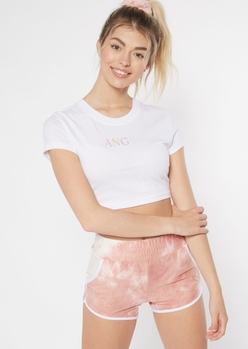 white embroidered angel cropped tee - Main Image