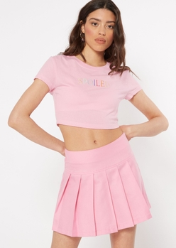 pink spoiled embroidered crop tee - Main Image