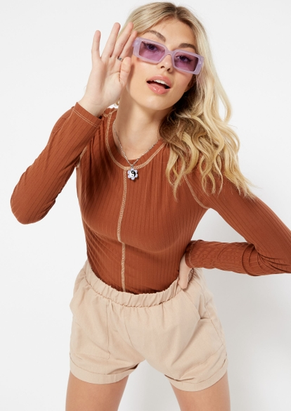 brown contrast stitch long sleeve top - Main Image