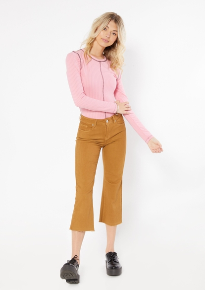 pink contrast stitch long sleeve tee - Main Image