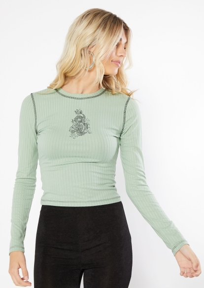 light green dragon embroidered contrast stitch long sleeve tee - Main Image