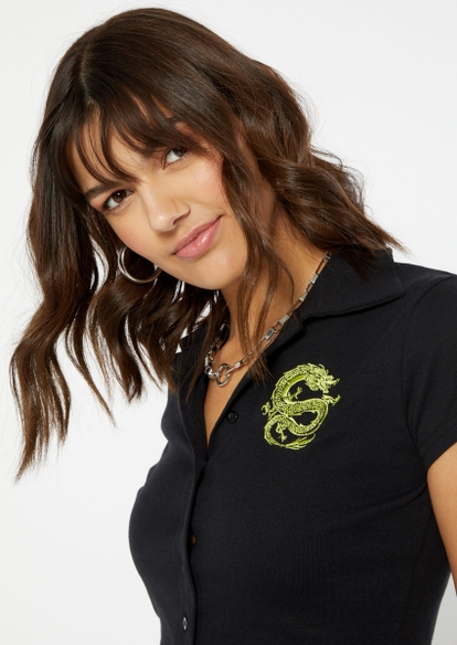 black dragon embroidered full button front polo top - Main Image