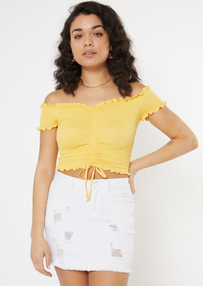 yellow off the shoulder ruched smock top - Main Image