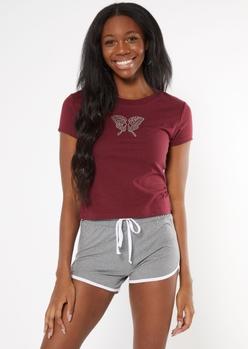 burgundy butterfly rhinestone baby tee - Main Image