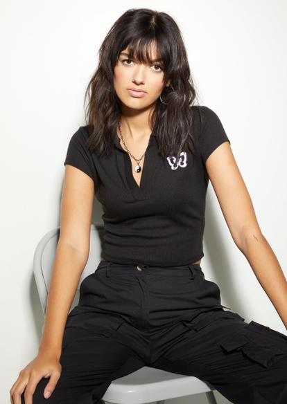 black polo collar butterfly embroidered top - Main Image