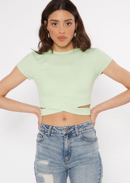 mint green cutout twist bottom ribbed knit top - Main Image