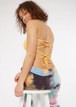 orange ribbed lace up back tube top - Main Image