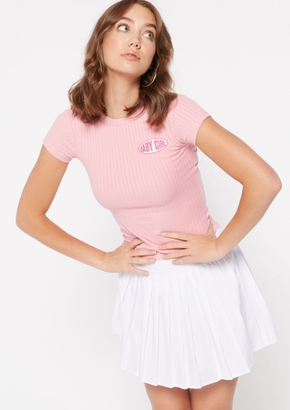 pink baby girl embroidered super soft tee - Main Image