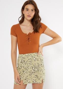 burnt orange super soft lace up v neck tee - Main Image