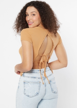 taupe open tie back tee - Main Image