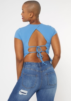 blue open tie back tee - Main Image