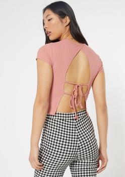 pink open tie back tee - Main Image