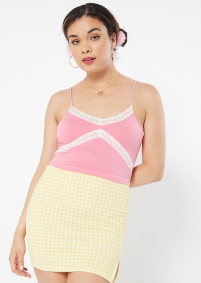 pink lace trim cami - Main Image