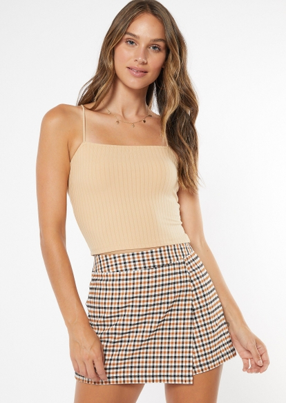 nude bungee strap ribbed knit crop top - Main Image