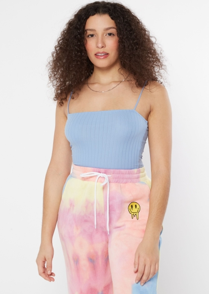 blue bungee strap ribbed knit crop top - Main Image