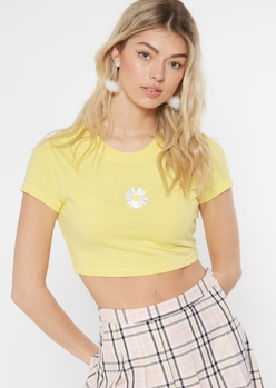 yellow embroidered daisy crop top - Main Image