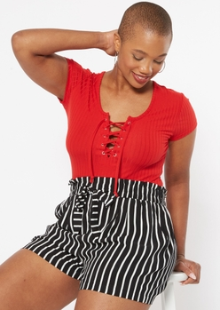 red grommet lace up baby tee - Main Image