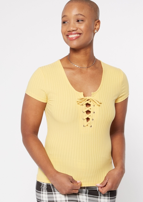 GROMMET LACE UP TEE placeholder image