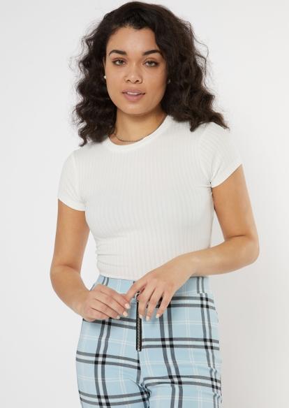 white ribbed knit baby tee - Main Image