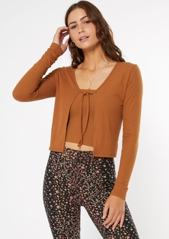brown ribbed knit tie front cardigan - Main Image