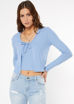 blue ribbed knit tie front cardigan - Main Image